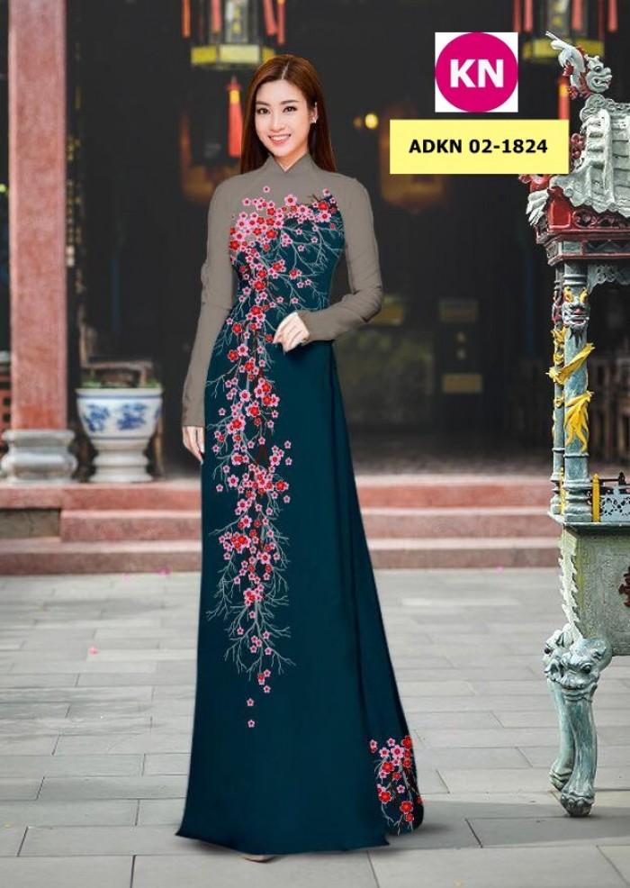 Vải bộ áo dài in đẹp ADKN 02-1824 (vải áo và vải quần )1