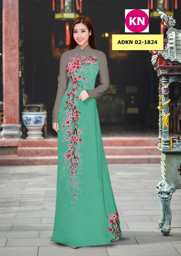 Vải bộ áo dài in đẹp ADKN 02-1824 (vải áo và vải quần )0