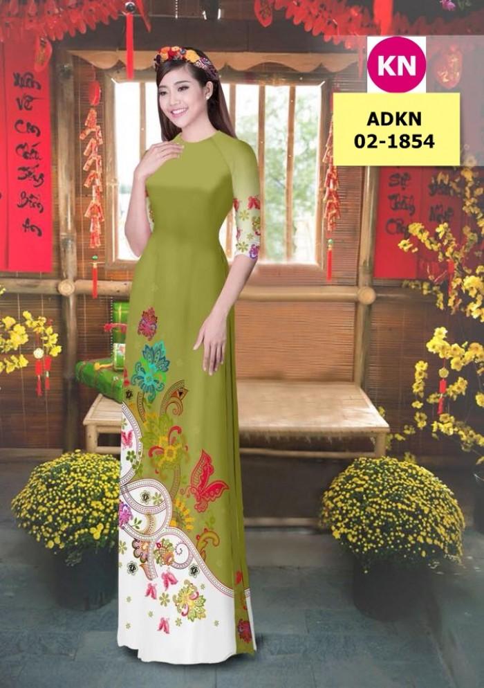 Vải bộ áo dài in đẹp ADKN 02-1854 (vải áo và vải quần )9