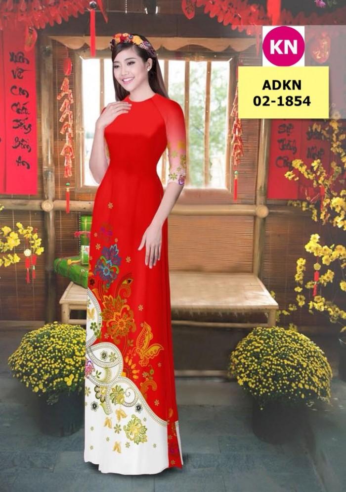 Vải bộ áo dài in đẹp ADKN 02-1854 (vải áo và vải quần )12