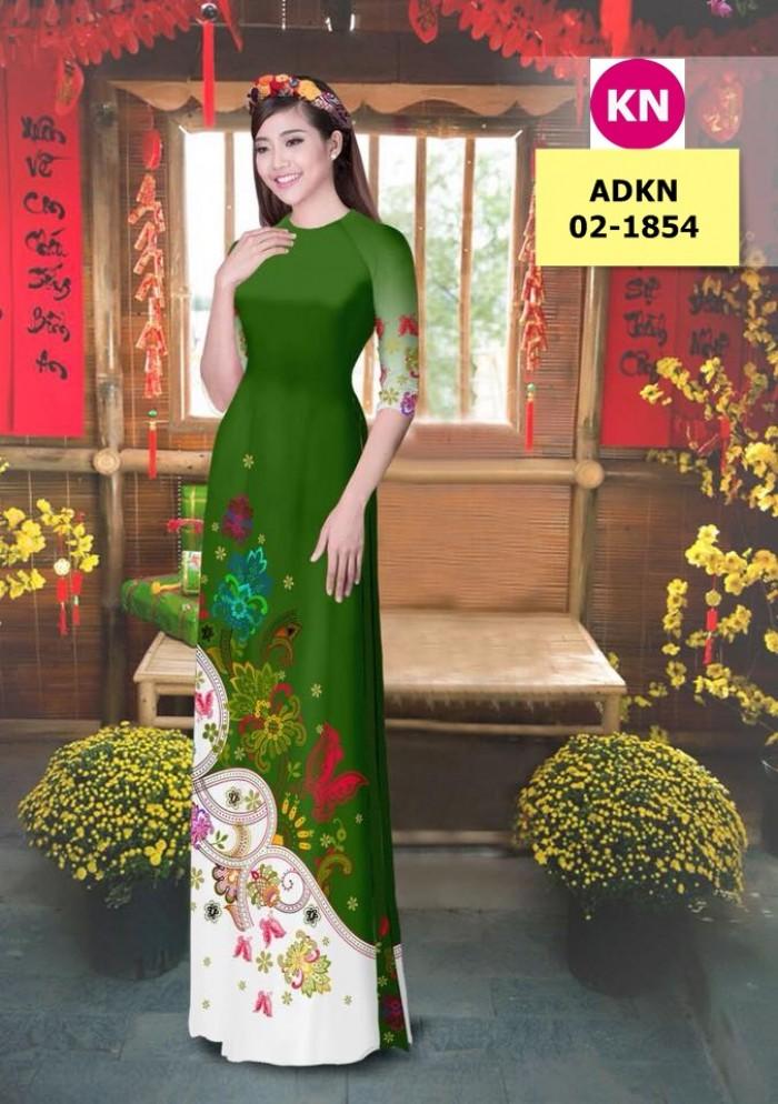 Vải bộ áo dài in đẹp ADKN 02-1854 (vải áo và vải quần )13
