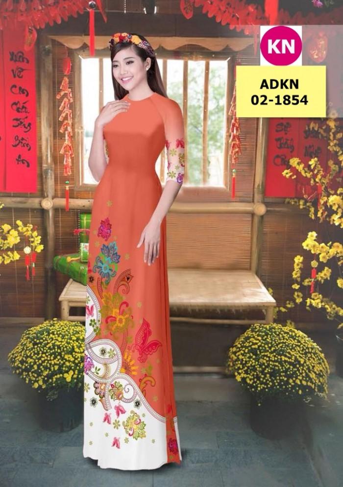 Vải bộ áo dài in đẹp ADKN 02-1854 (vải áo và vải quần )17