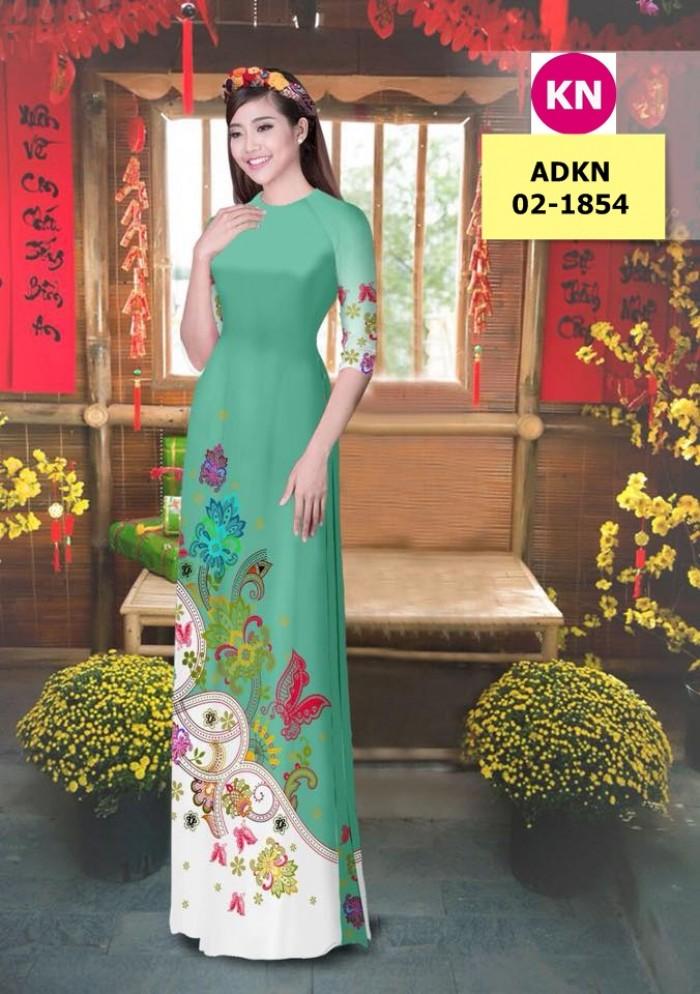 Vải bộ áo dài in đẹp ADKN 02-1854 (vải áo và vải quần )10