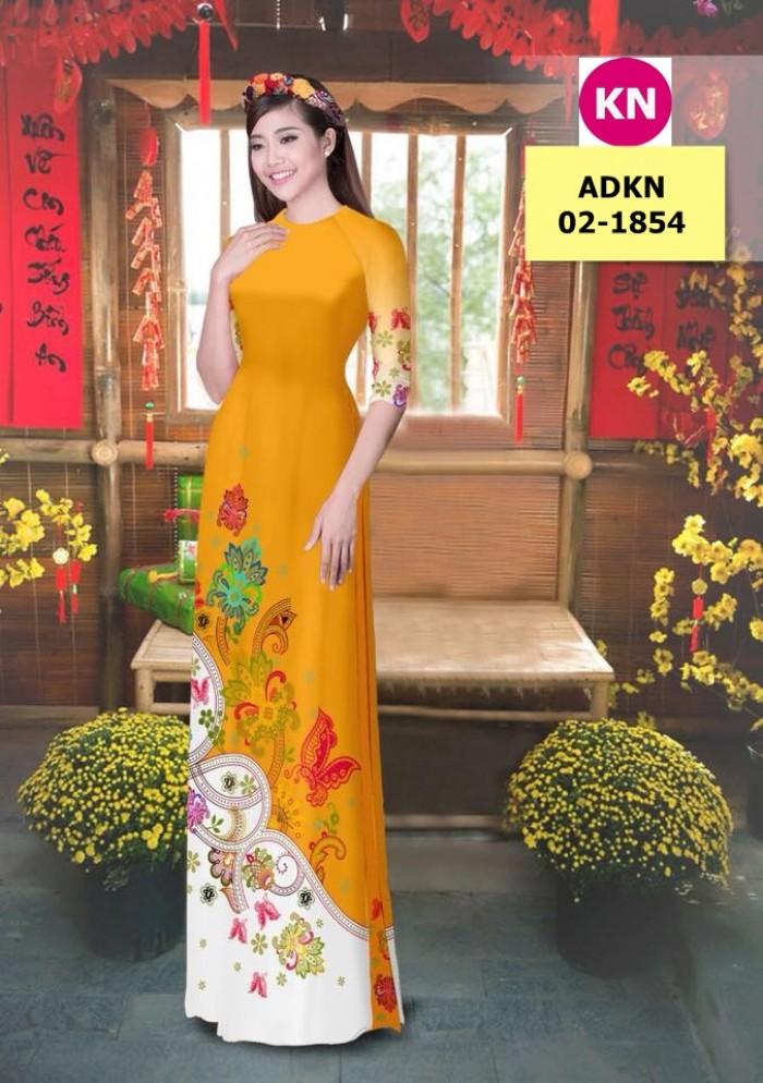 Vải bộ áo dài in đẹp ADKN 02-1854 (vải áo và vải quần )8
