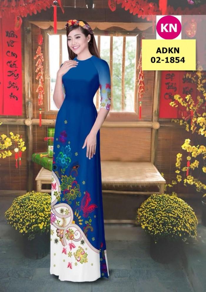 Vải bộ áo dài in đẹp ADKN 02-1854 (vải áo và vải quần )11