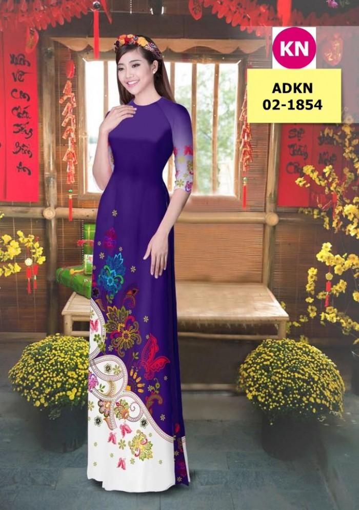 Vải bộ áo dài in đẹp ADKN 02-1854 (vải áo và vải quần )5