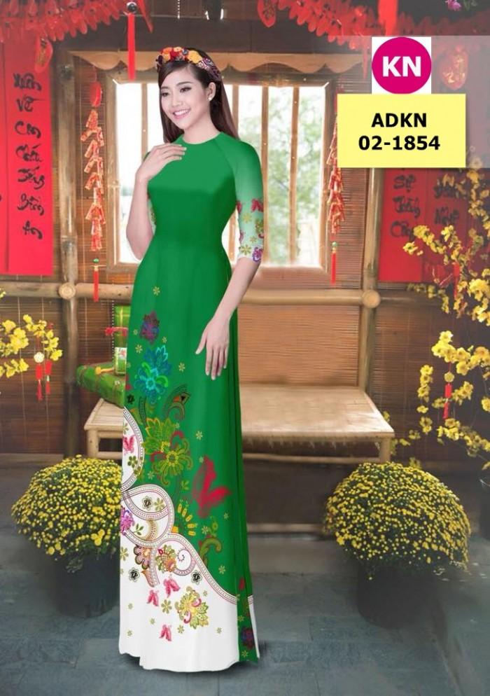 Vải bộ áo dài in đẹp ADKN 02-1854 (vải áo và vải quần )4