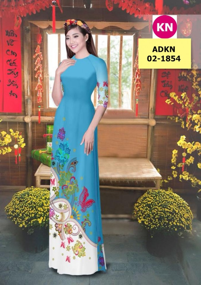 Vải bộ áo dài in đẹp ADKN 02-1854 (vải áo và vải quần )6