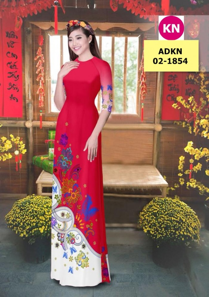 Vải bộ áo dài in đẹp ADKN 02-1854 (vải áo và vải quần )3