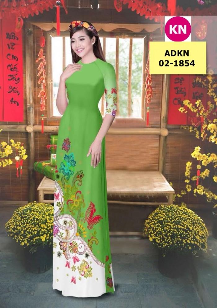 Vải bộ áo dài in đẹp ADKN 02-1854 (vải áo và vải quần )2