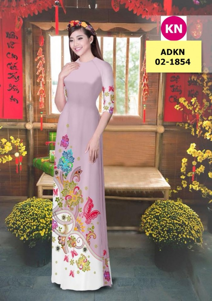 Vải bộ áo dài in đẹp ADKN 02-1854 (vải áo và vải quần )1