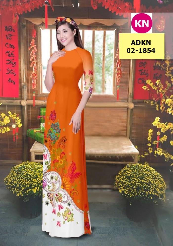 Vải bộ áo dài in đẹp ADKN 02-1854 (vải áo và vải quần )0