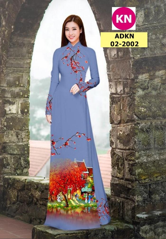 Vải bộ áo dài in đẹp ADKN 02-2002 (vải áo và vải quần )