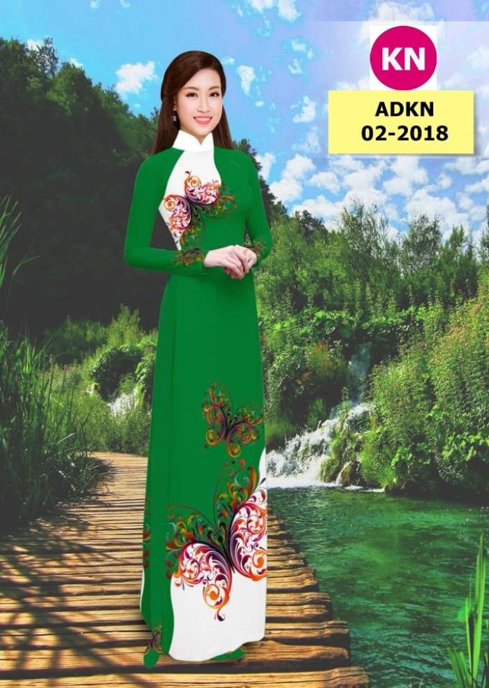 Vải bộ áo dài in đẹp ADKN 02-2018 (vải áo và vải quần )
