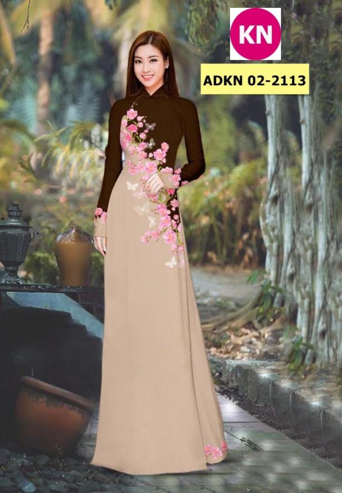 Vải bộ áo dài in đẹp ADKN 02-2113 (vải áo và vải quần )1