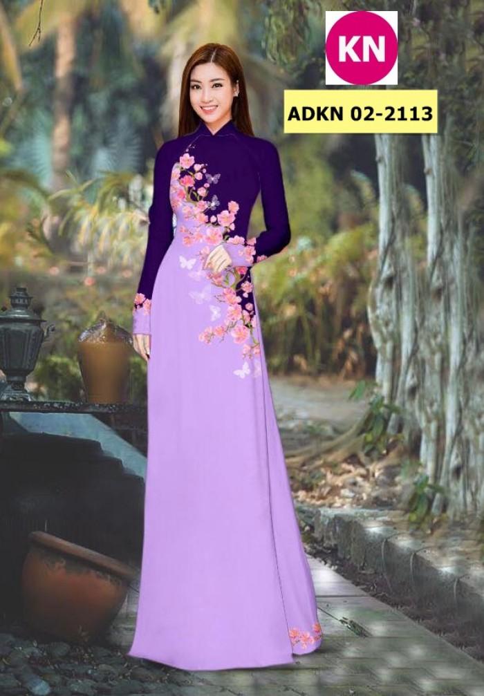 Vải bộ áo dài in đẹp ADKN 02-2113 (vải áo và vải quần )0