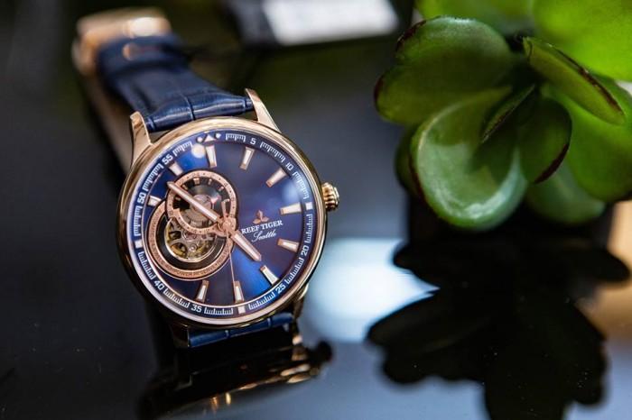 Đồng hồ nam REEF TIGER RGA1693 xanh rose gold1