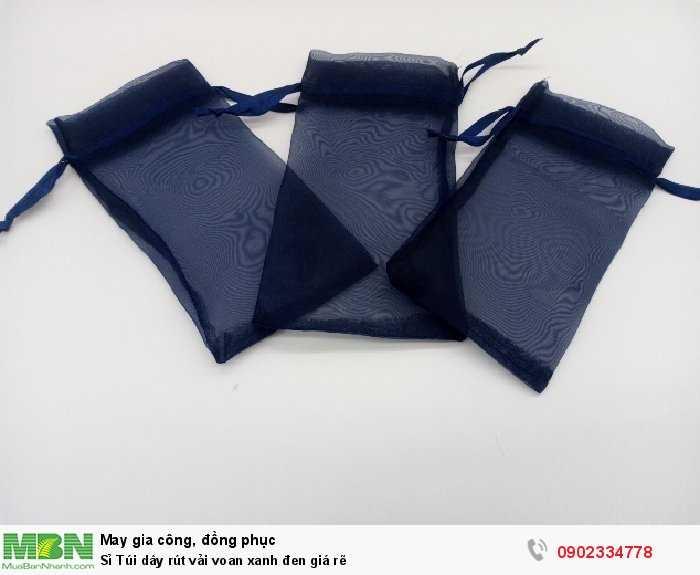 Sỉ Túi dây rút vải voan xanh đen giá rẽ