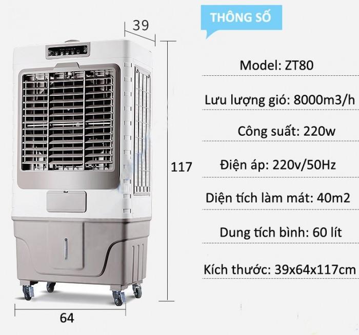 Xả kho quạt điều hòa hơi nước AKYO ZT-80 nhập khẩu thái lan có khay chứa đá làm mát nhanh0