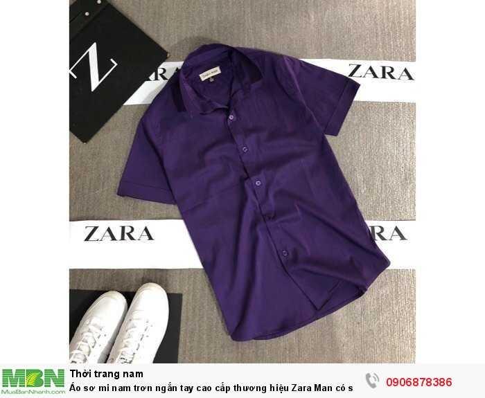 Áo sơ mi nam trơn ngắn tay cao cấp thương hiệu Zara Man có size lớn trên 80kg1