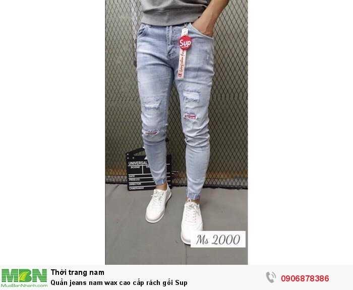 Quần jeans nam wax cao cấp rách gối Sup0