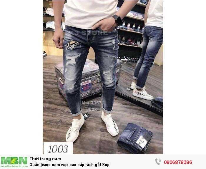 Quần jeans nam wax cao cấp rách gối Sup1