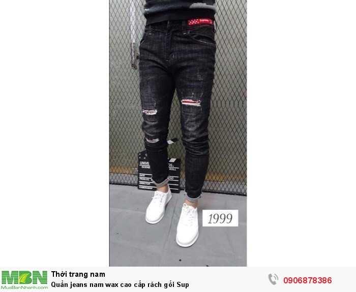 Quần jeans nam wax cao cấp rách gối Sup3