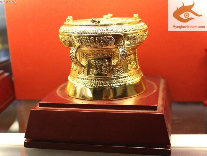 Trống đồng mạ vàng dk12cm quà tặng hot nhất hiện nay0
