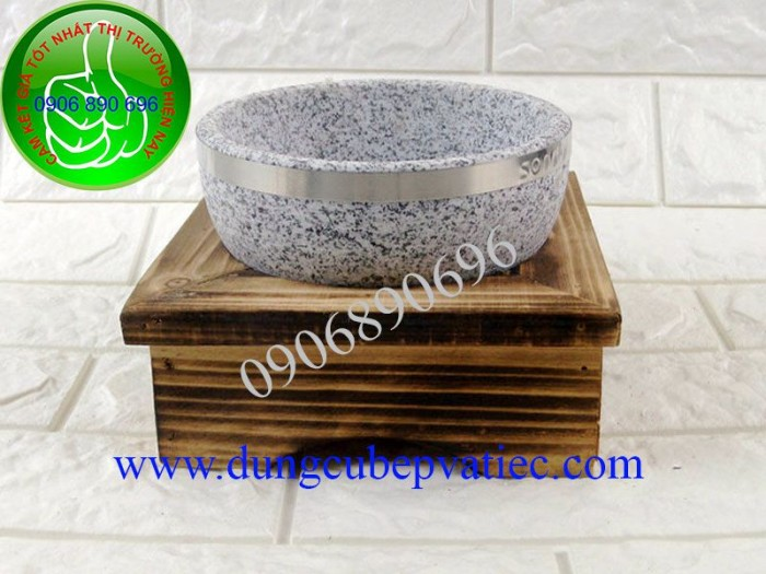 Thố đá Hàn Quốc đế gỗ cao
