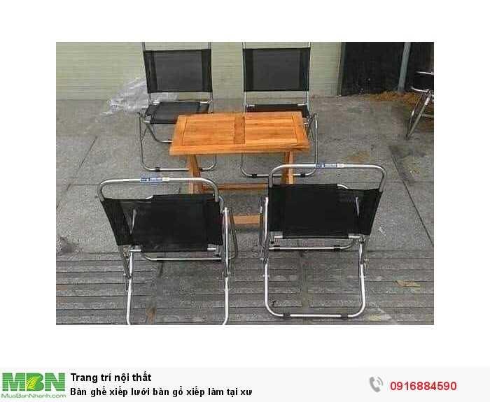 Bàn ghế xiếp lưới bàn gổ xiếp làm tại xư0