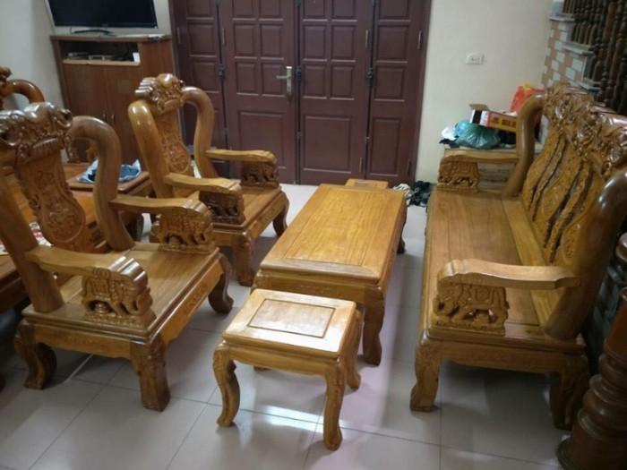 Bộ bàn ghế phòng khách trạm voi gỗ lim15