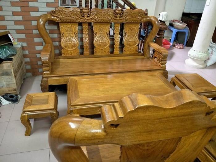 Bộ bàn ghế phòng khách trạm voi gỗ lim17