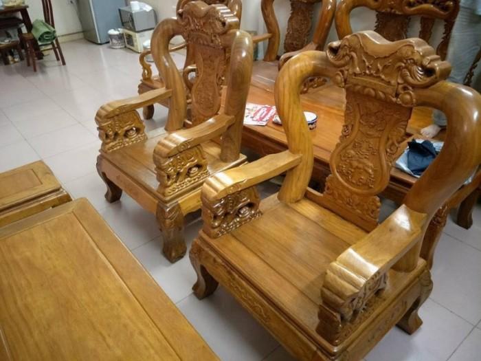Bộ bàn ghế phòng khách trạm voi gỗ lim16