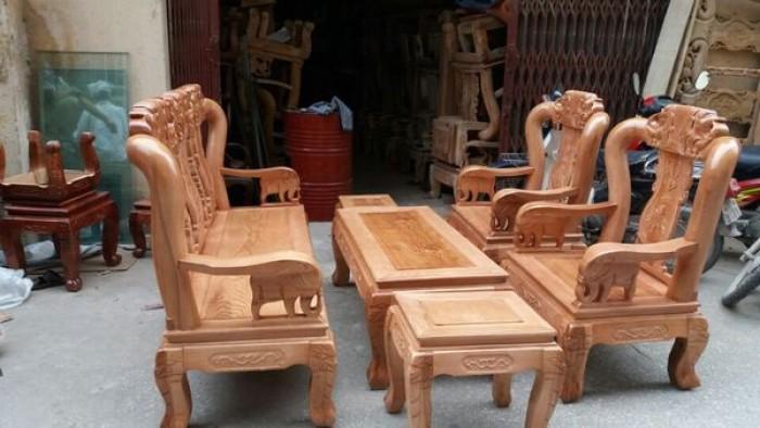 Bộ bàn ghế giả cổ minh quốc voi gỗ sồi nga2