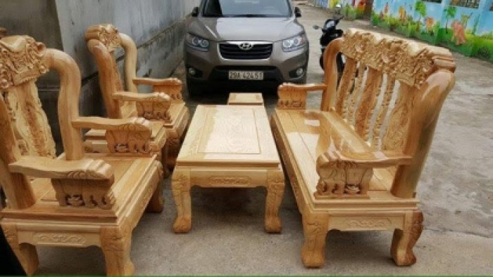 Bộ bàn ghế giả cổ minh quốc voi gỗ sồi nga1