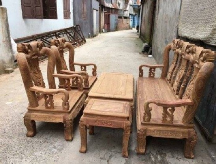 Bộ bàn ghế quốc đào gỗ hương vân4