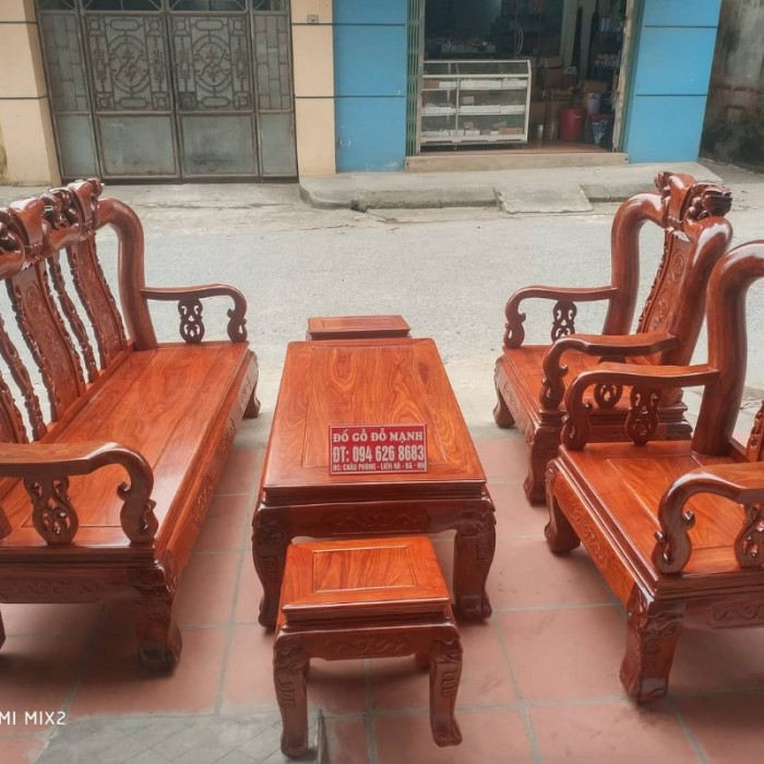 Bộ bàn ghế quốc đào gỗ hương vân10
