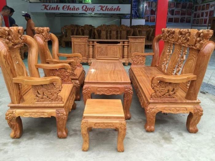 Bộ bàn ghế giả cổ trạm quốc đào gỗ gõ đỏ12