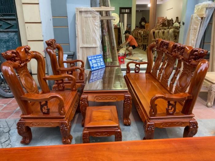 Bộ bàn ghế giả cổ trạm quốc đào gỗ gõ đỏ14