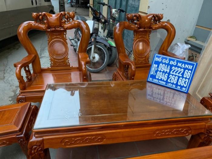 Bộ bàn ghế giả cổ trạm quốc đào gỗ gõ đỏ15