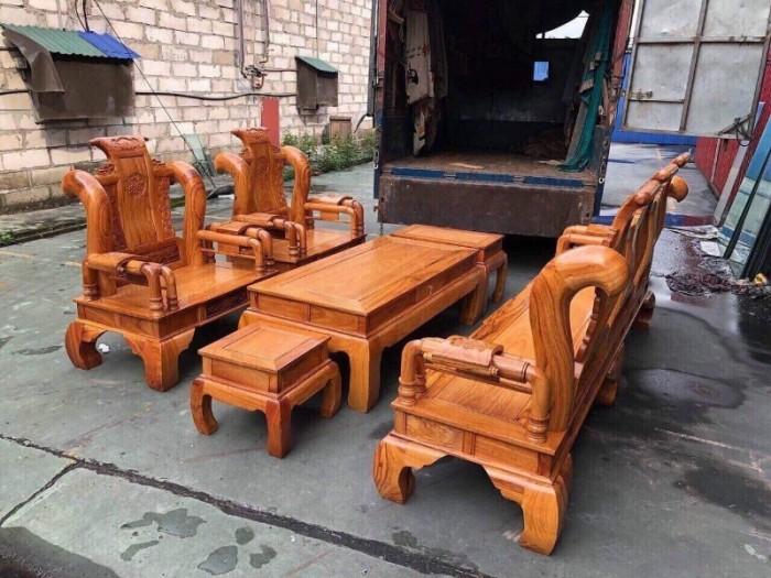 Bộ bàn ghế tần thủy hoàng gỗ gõ đỏ tay 121