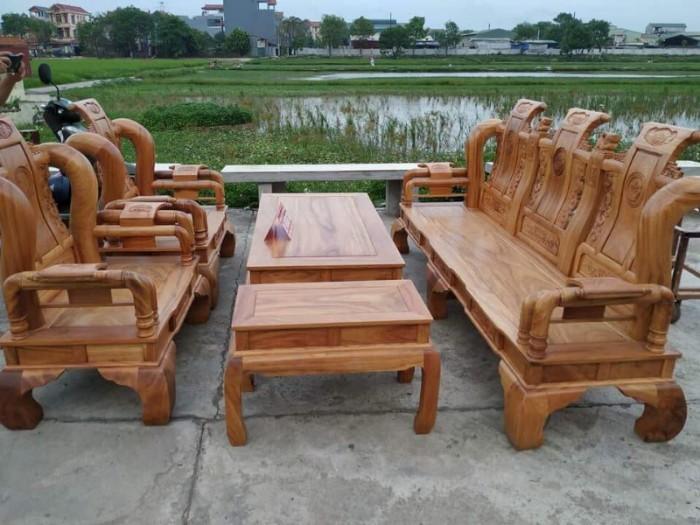 Bộ bàn ghế tần thủy hoàng gỗ gõ đỏ tay 124