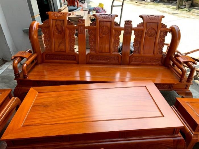 Bộ bàn ghế tần thủy hoàng gỗ gõ đỏ tay 1210