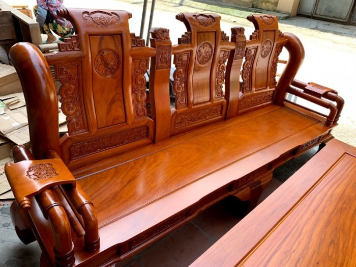 Bộ bàn ghế tần thủy hoàng gỗ gõ đỏ tay 1216