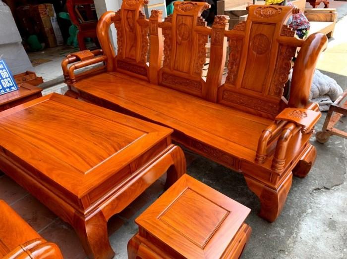 Bộ bàn ghế tần thủy hoàng gỗ gõ đỏ tay 125