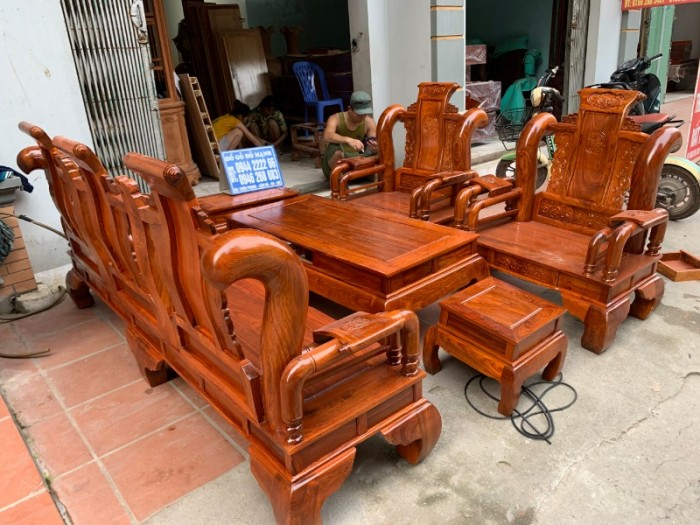 Bộ bàn ghế giả cổ tần thủy hoàng gỗ hương vân11