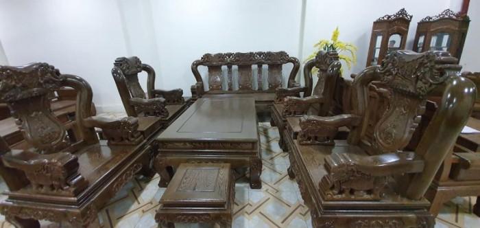 Bộ bàn ghế giả cổ trạm voi gỗ mun đuôi công3