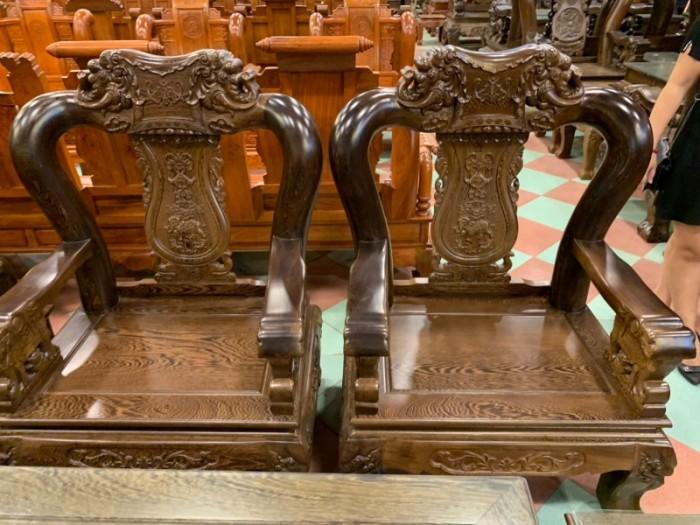 Bộ bàn ghế giả cổ trạm voi gỗ mun đuôi công6