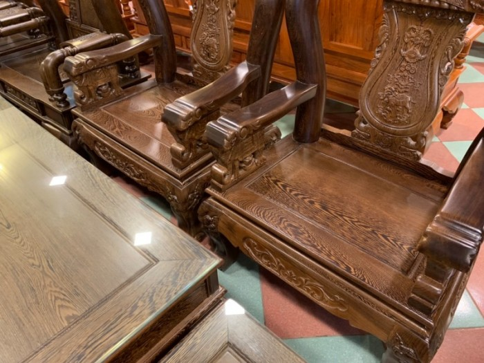 Bộ bàn ghế giả cổ trạm voi gỗ mun đuôi công10