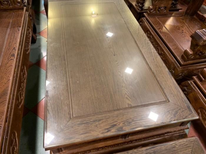 Bộ bàn ghế giả cổ trạm voi gỗ mun đuôi công11